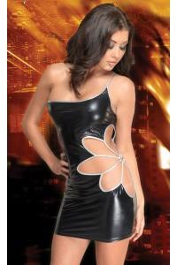 Robe sexy vinyl imitation cuir décolleté pigeonnant