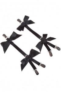 Jarretelles amovibles nœuds satins gothique